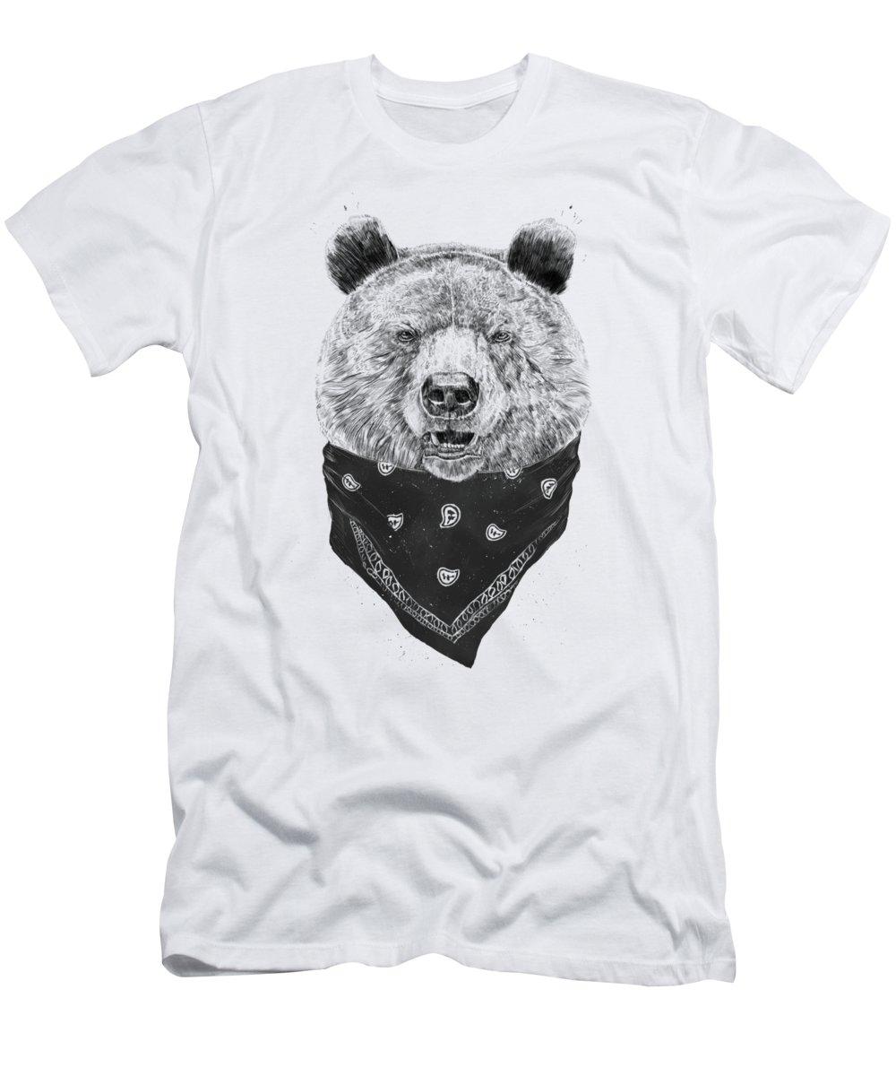 Bear T-Shirt featuring the mixed media Wild bear by Balazs Solti