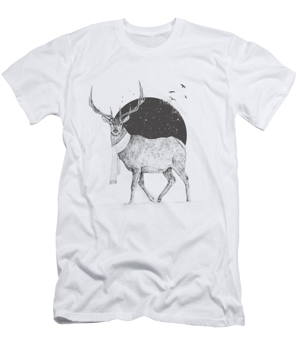 Deer T-Shirt featuring the drawing Winter is all around by Balazs Solti