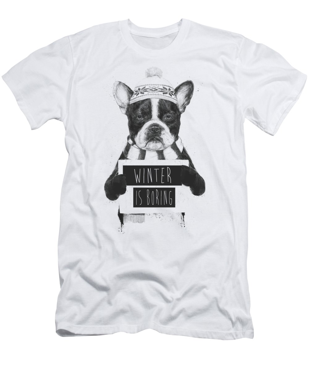 Bulldog Men's T-Shirt (Athletic Fit) featuring the mixed media Winter Is Boring by Balazs Solti