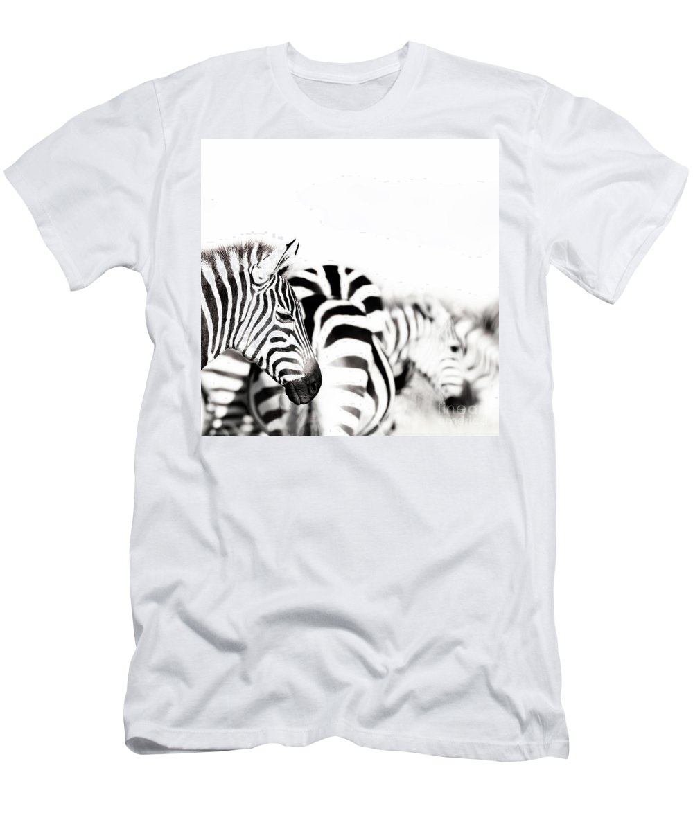 Portrait Men's T-Shirt (Athletic Fit) featuring the photograph Zebras Black And White by Jane Rix