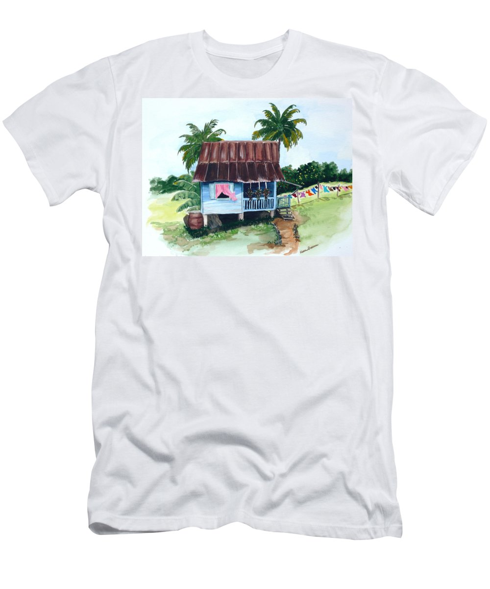 Landscape Painting Caribbean House Painting Blue House Painting Trinidad And Tobago Painting Greeting Card Painting Island Painting Tropical House Painting Blue Painting T-Shirt featuring the painting Little Blue House by Karin Dawn Kelshall- Best