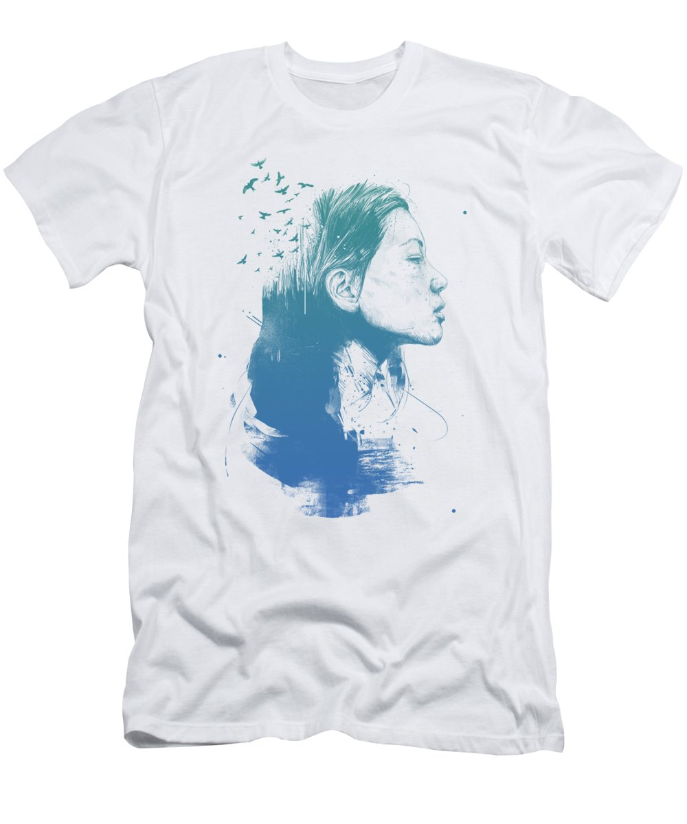 Girl T-Shirt featuring the drawing Open your mind by Balazs Solti