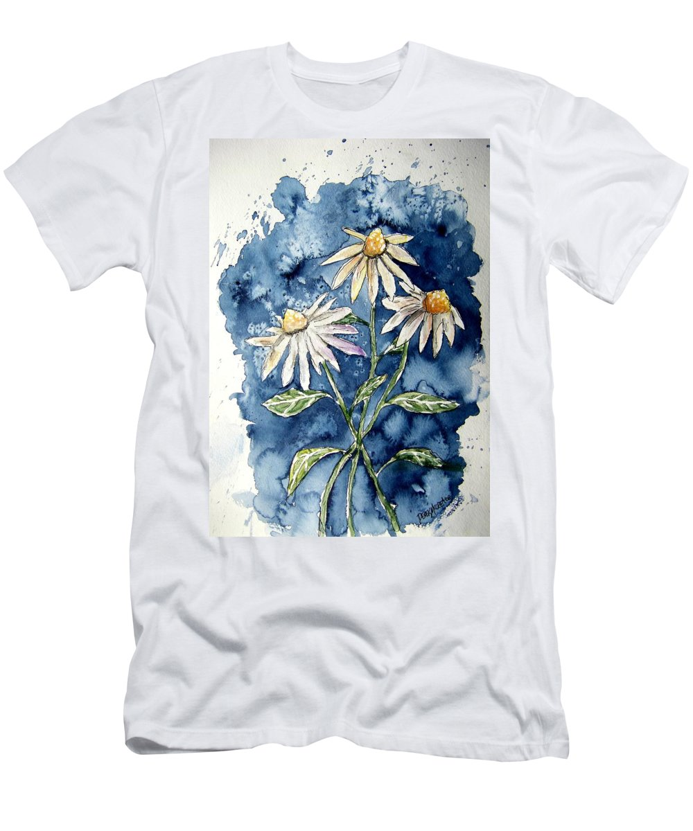 Daisy T-Shirt featuring the painting 3 Daisies Flower Art by Derek Mccrea