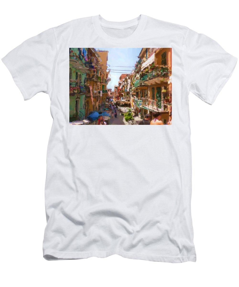 Cinque Terre T-Shirt featuring the mixed media Cinque Terre by Asbjorn Lonvig