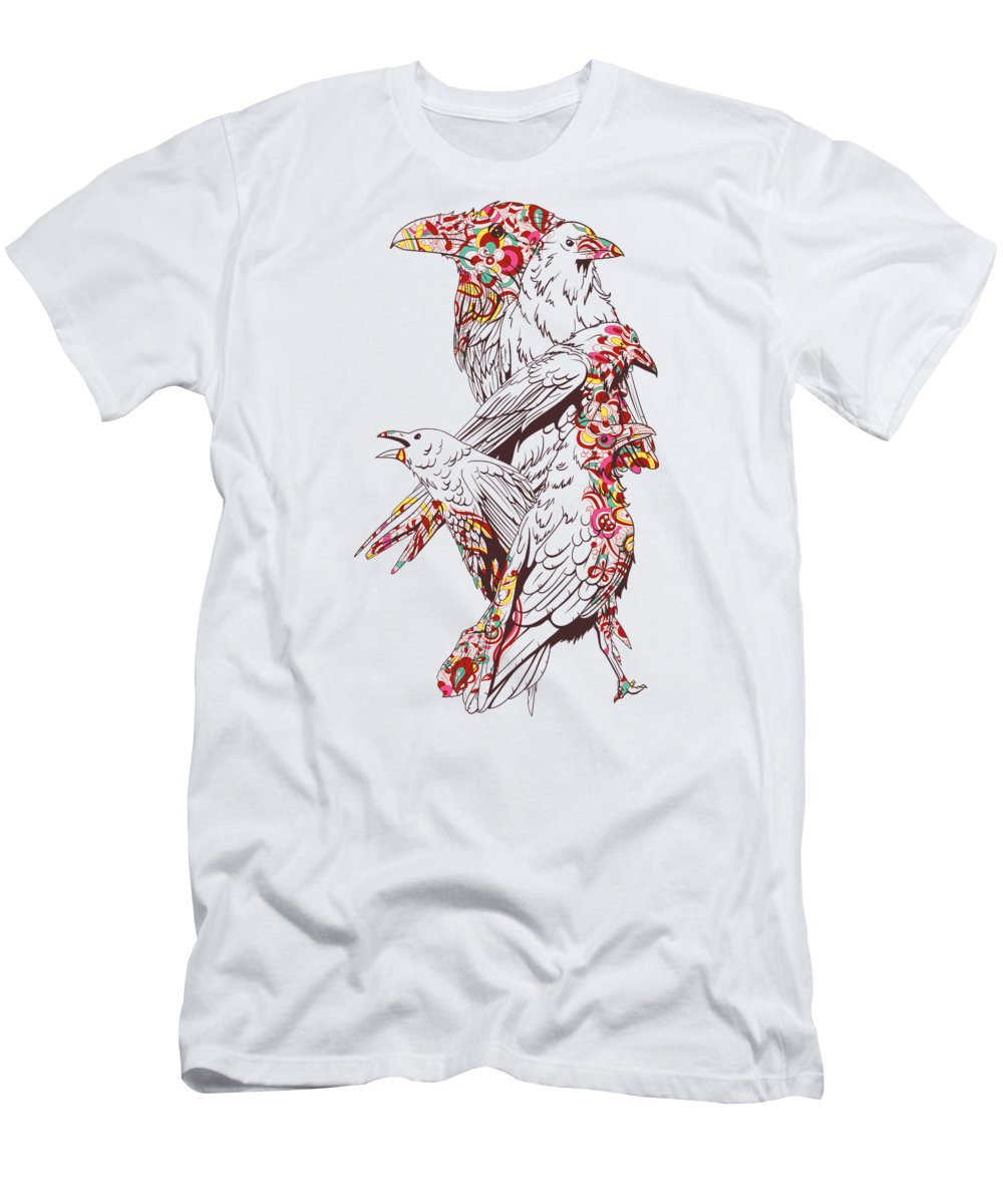 Colorful T-Shirt featuring the digital art Floral Bird by Passion Loft