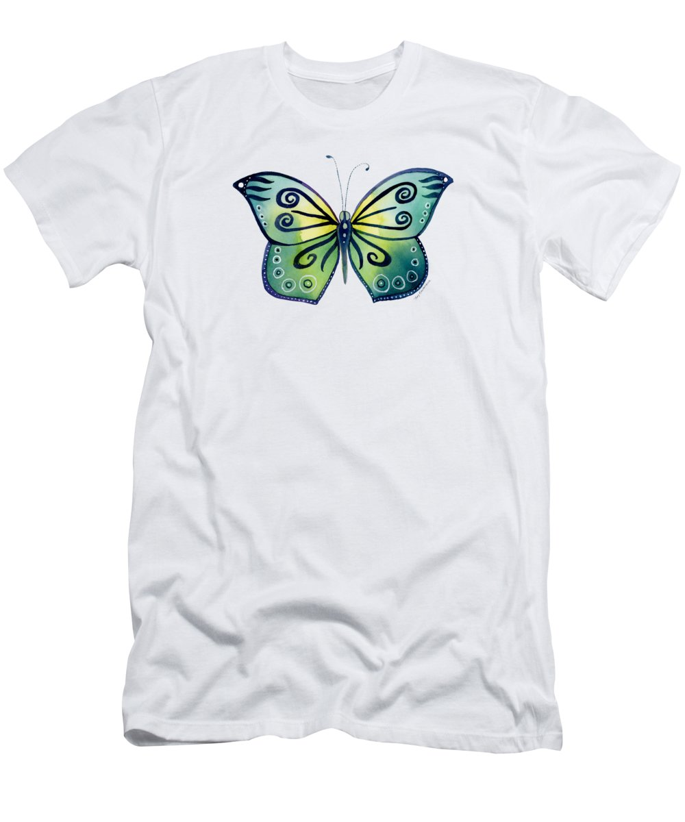 Capanea Butterfly T-Shirt featuring the painting 92 Teal Button Cap Butterfly by Amy Kirkpatrick