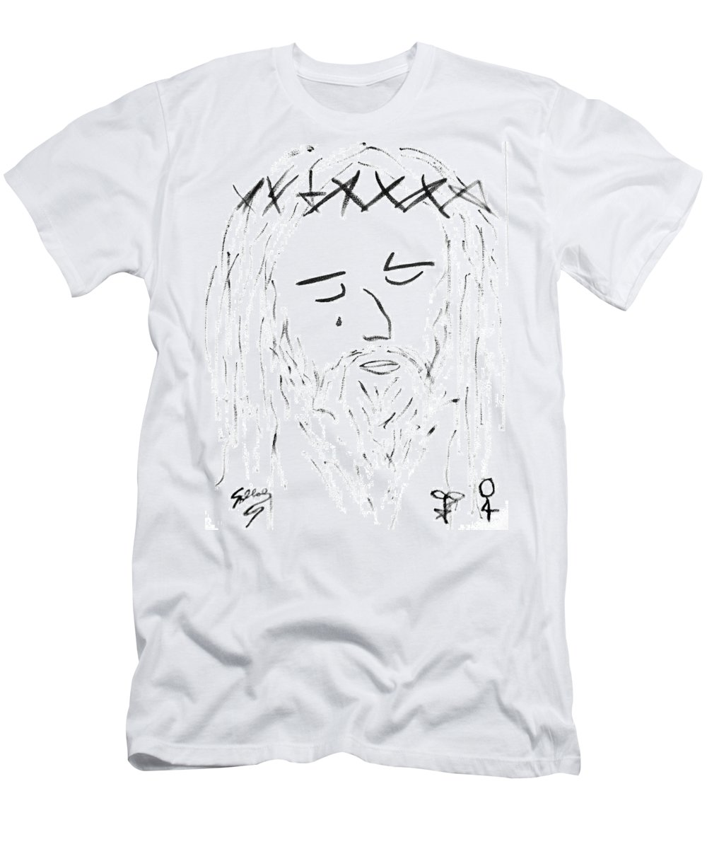 Abstract T-Shirt featuring the painting Abstract Jesus Face by Sollog Artist