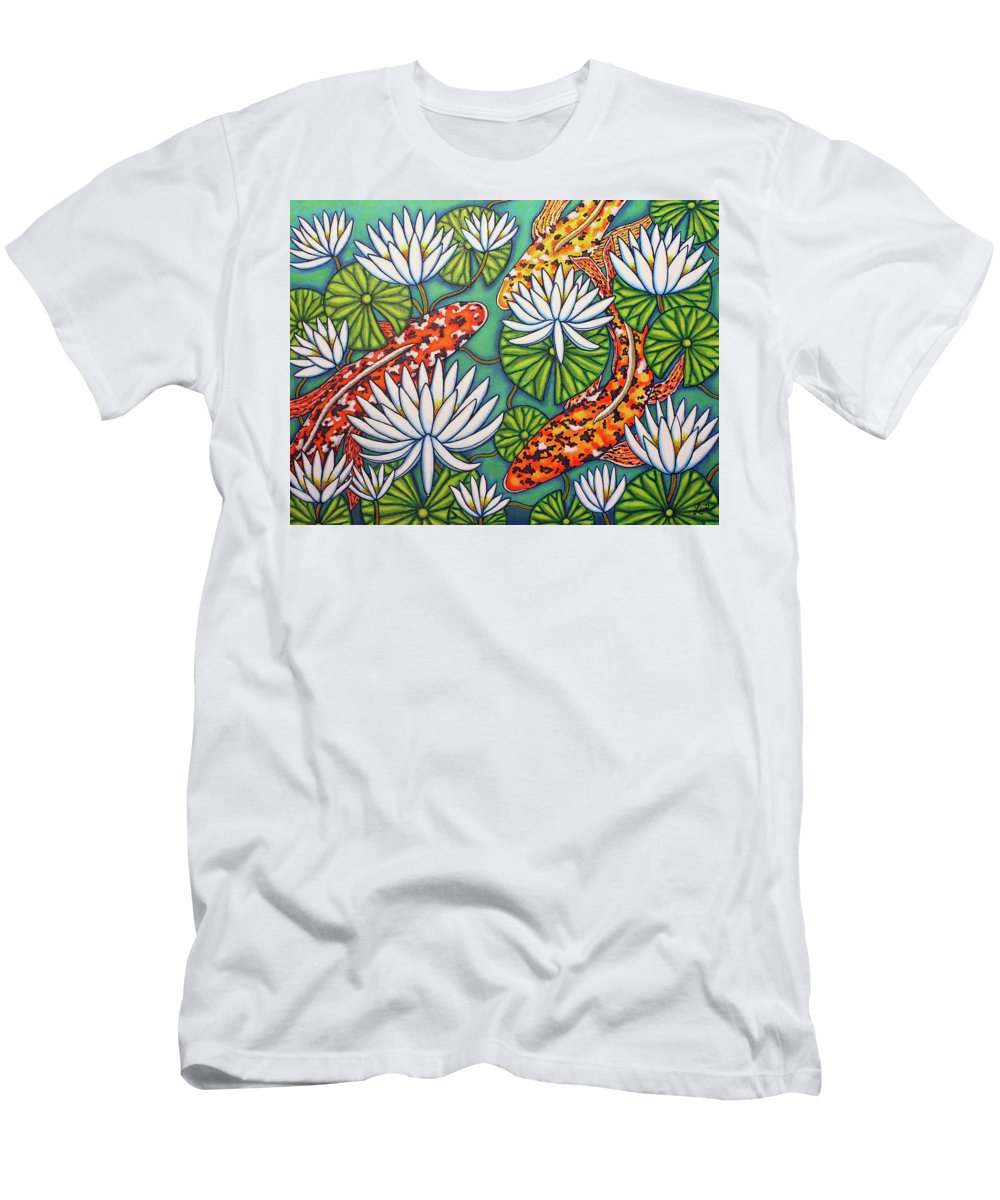 Koi T-Shirt featuring the painting Aquatic Jewels by Lisa Lorenz