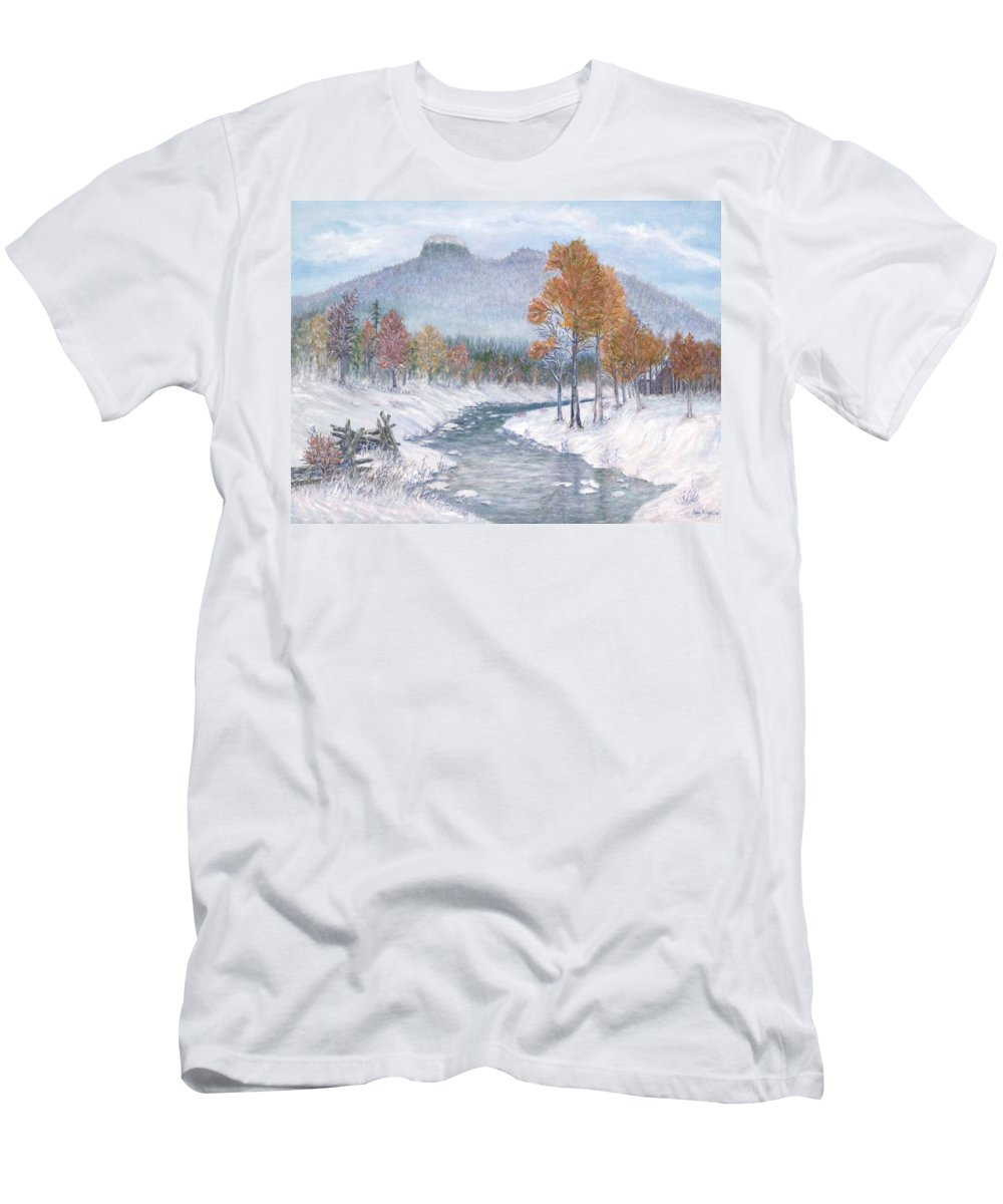 Snow T-Shirt featuring the painting Autumn Snow by Ben Kiger