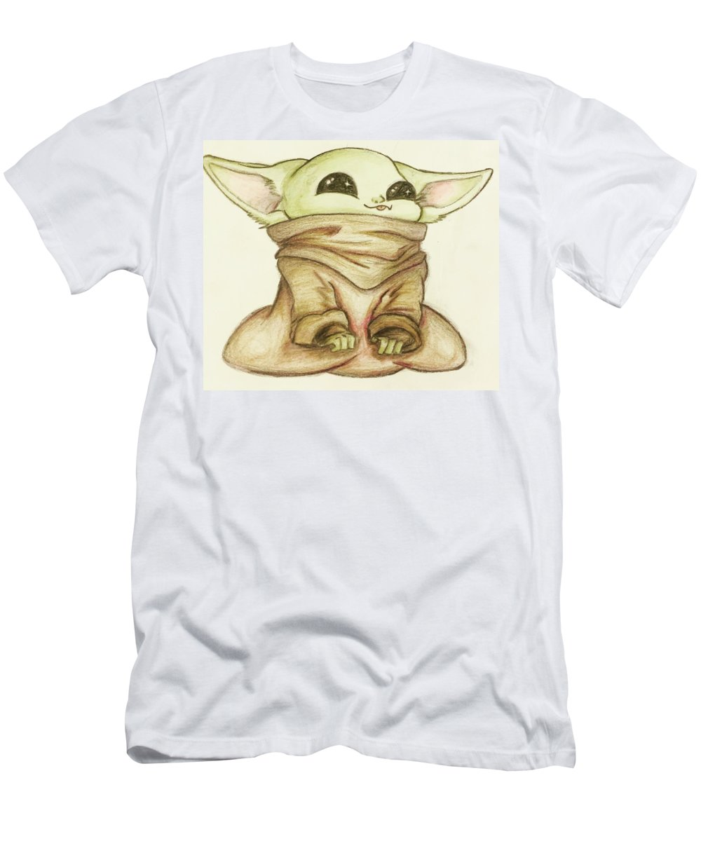 Baby T-Shirt featuring the drawing Baby Yoda by Tejay Nichols