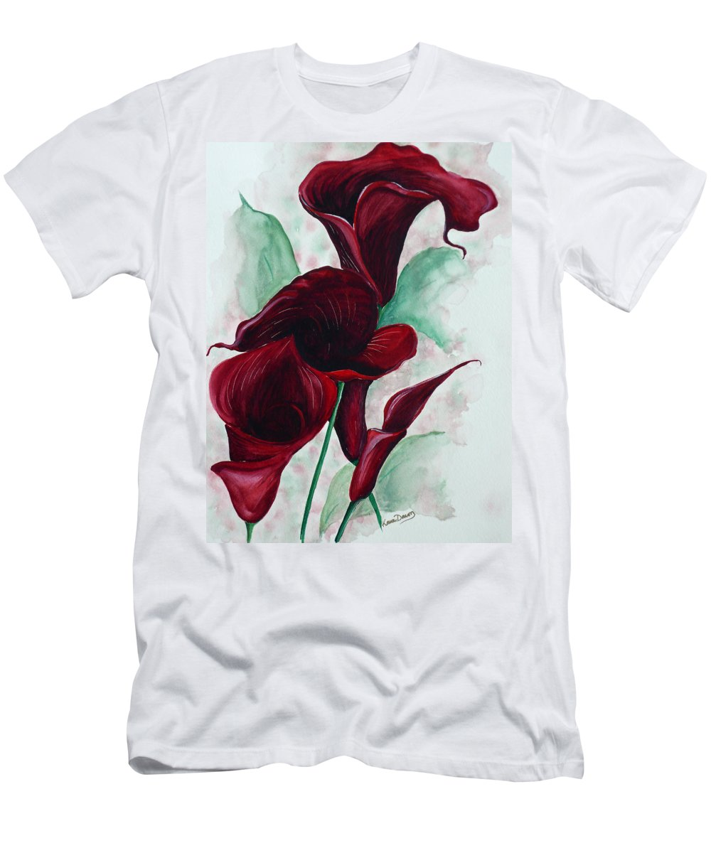 Flower Painting Floral Painting Botanical Painting Tropical Painting Caribbean Painting Calla Painting Red Lily Painting Deep Red Calla Lilies Original Watercolor Painting T-Shirt featuring the painting Black Callas by Karin Dawn Kelshall- Best