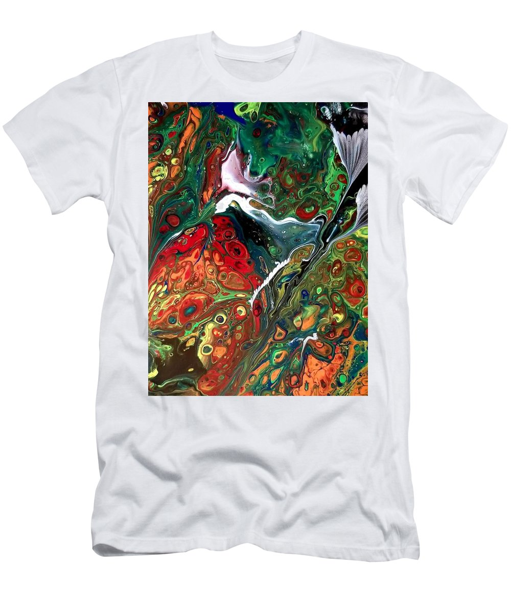 Pour Flower T-Shirt featuring the painting Black Flower by Valerie Josi