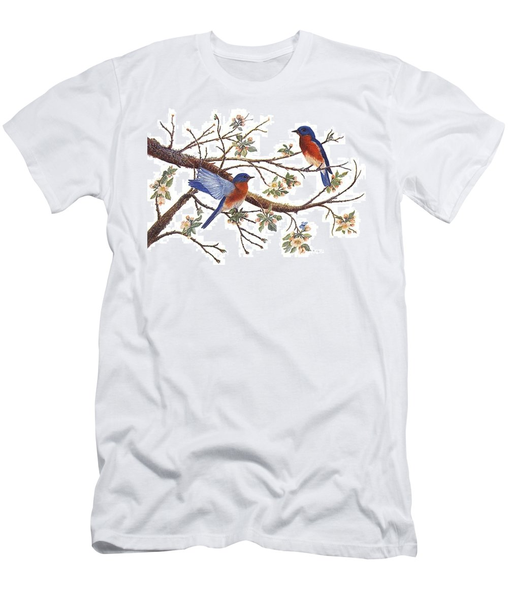 Bluebirds T-Shirt featuring the painting Bluebirds And Apple Blossoms by Ben Kiger