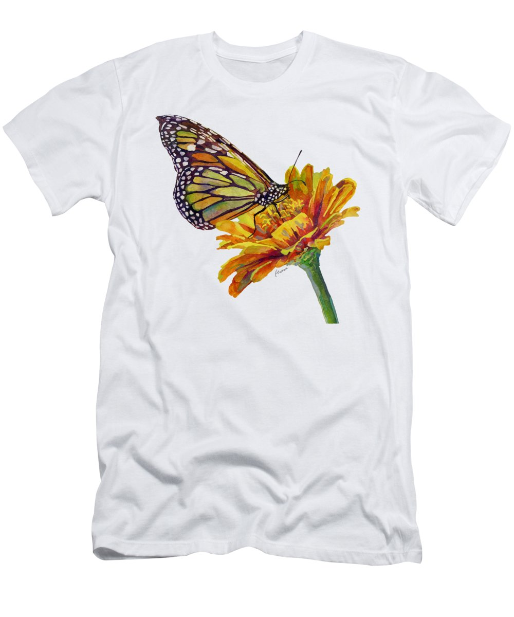 Butterfly T-Shirt featuring the painting Butterfly Kiss on White by Hailey E Herrera