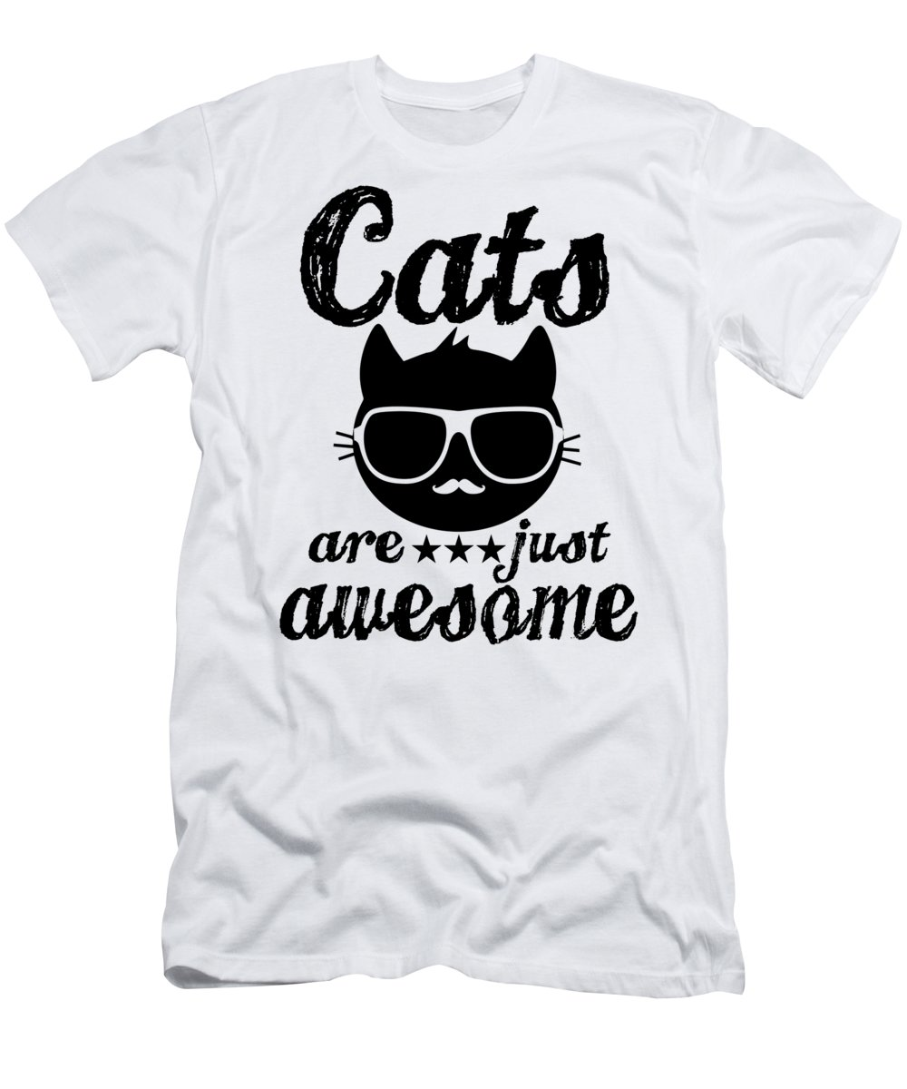 Cat Sunglasses T-Shirt featuring the digital art Cats Are Just Awesome by Passion Loft