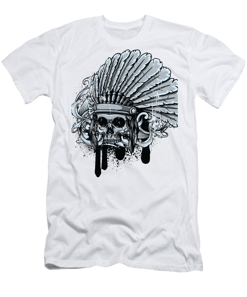 Skull T-Shirt featuring the digital art Chebeya Skull with Headdress by Jacob Zelazny