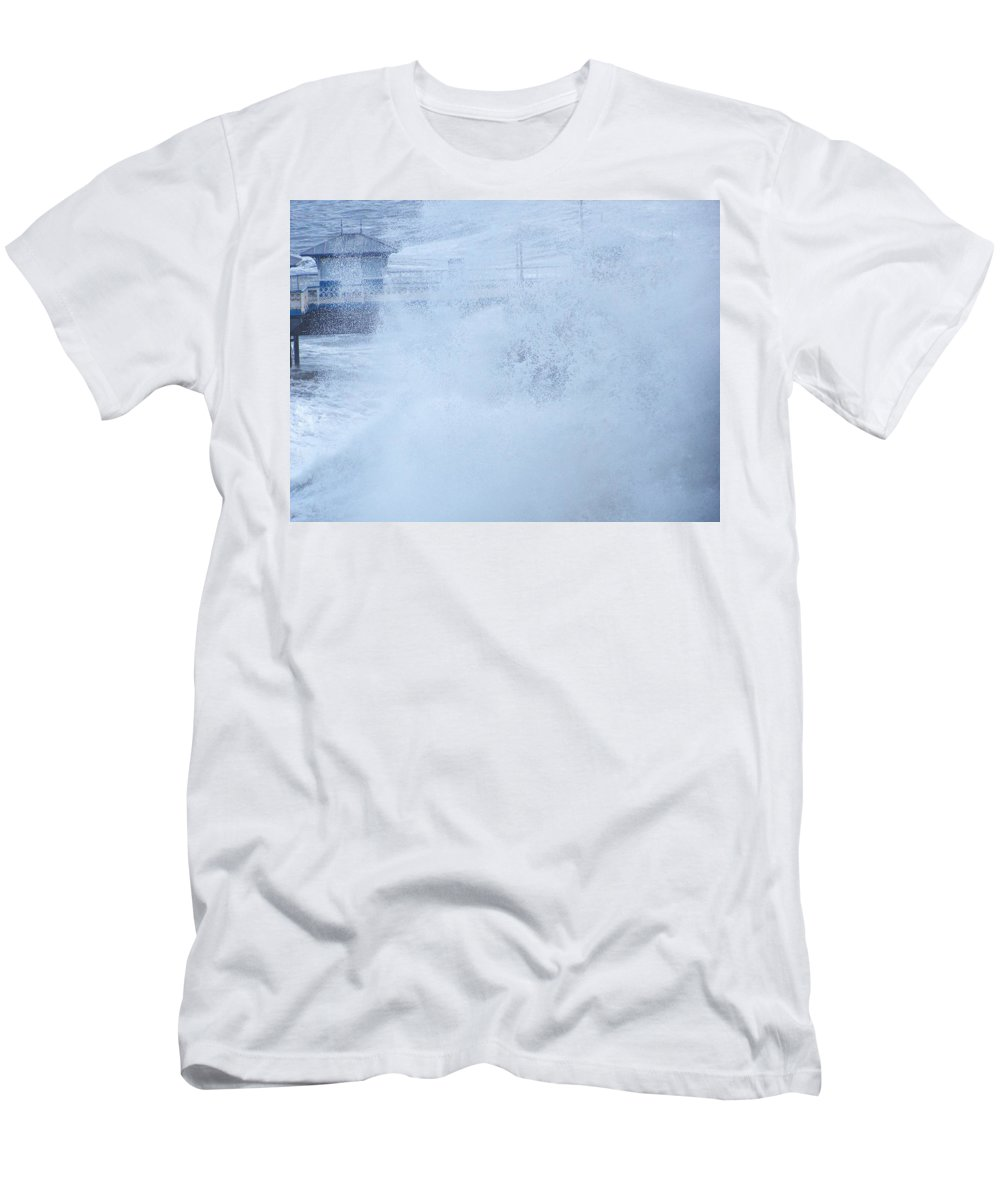 Waves T-Shirt featuring the photograph Close one by Christopher Rowlands