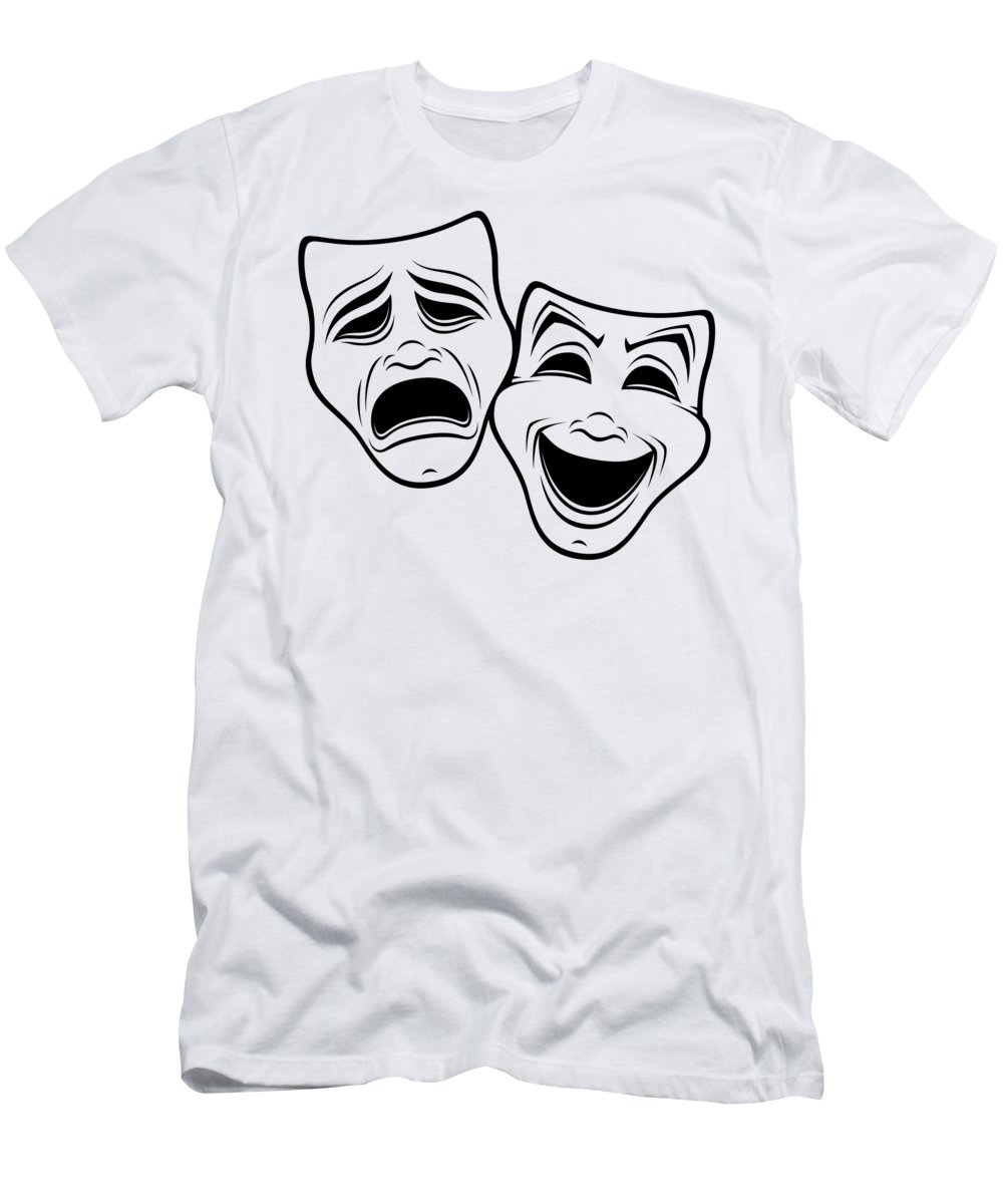 Acting T-Shirt featuring the digital art Comedy And Tragedy Theater Masks Black Line by John Schwegel