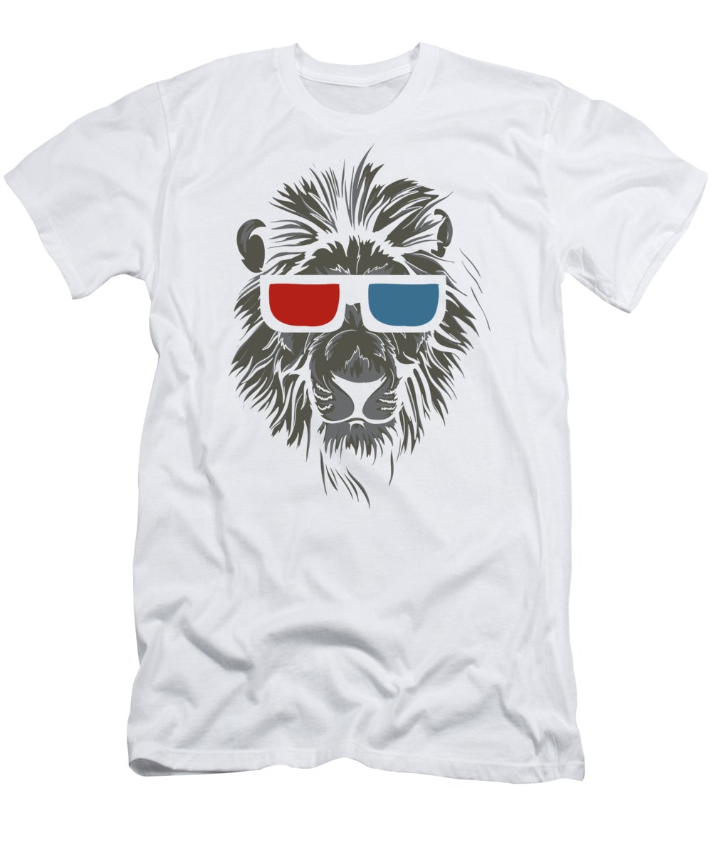 Lion T-Shirt featuring the digital art Cool Lion in 3D Glasses by Jacob Zelazny