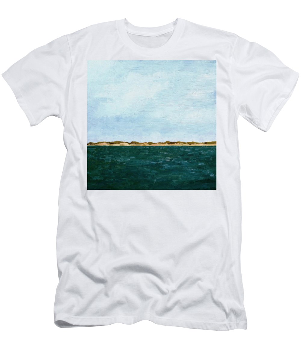 Lake T-Shirt featuring the painting Dunes of Lake Michigan with Big Sky by Michelle Calkins