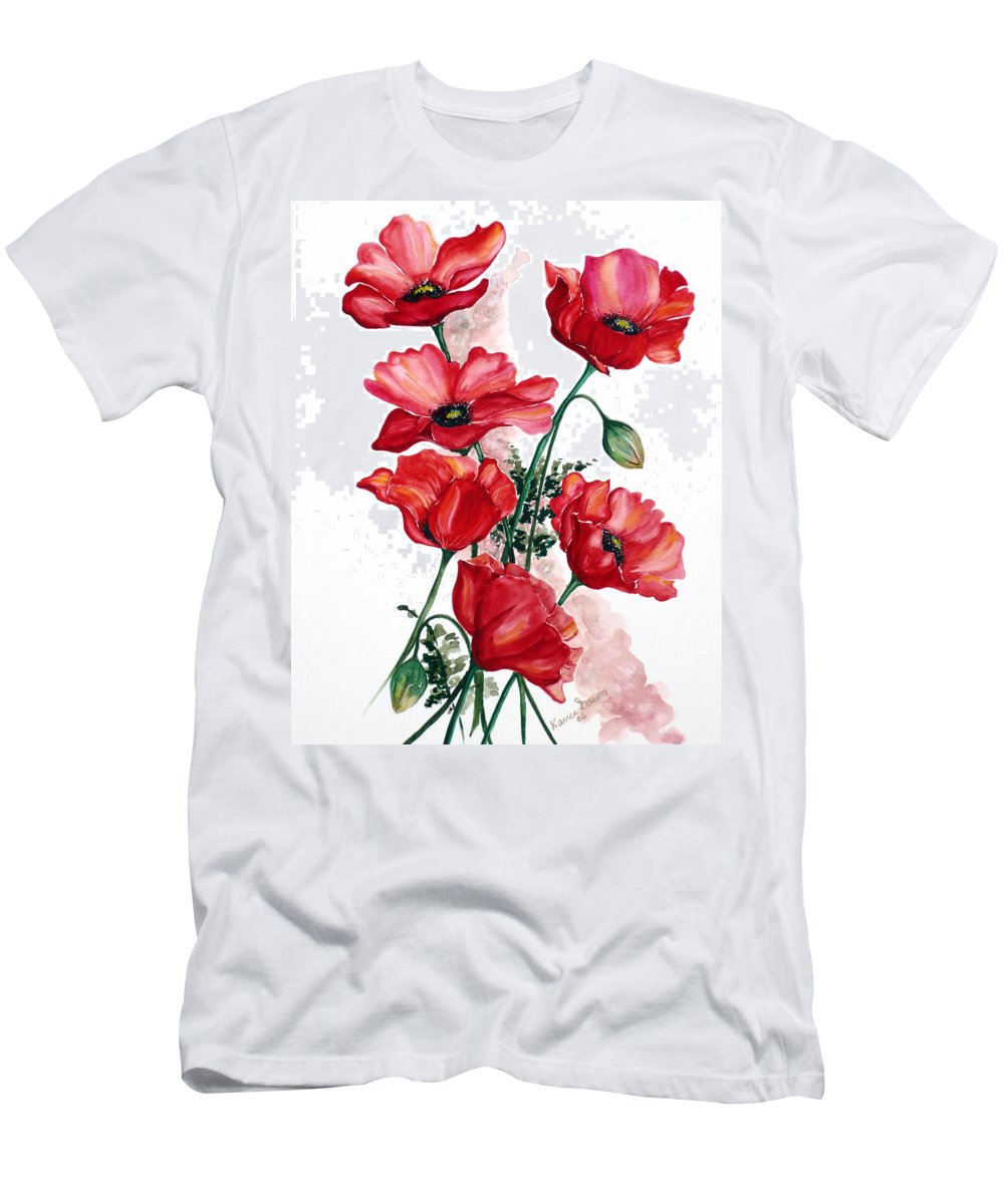 Original Watercolor Of English Field Poppies Painted On Arches Watercolor Paper T-Shirt featuring the painting English Field Poppies. by Karin Dawn Kelshall- Best