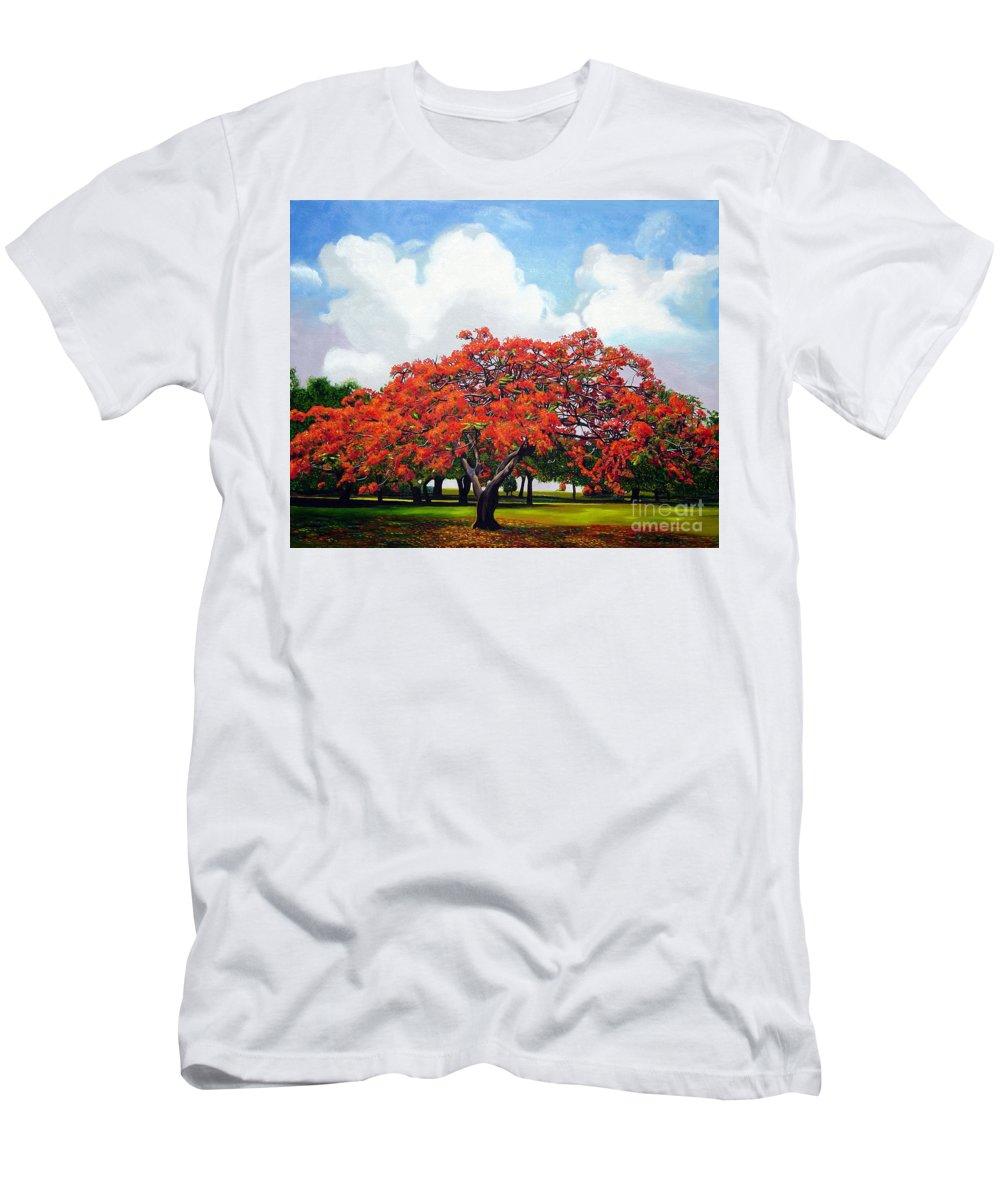 Cuban Art T-Shirt featuring the painting Flamboyan by Jose Manuel Abraham
