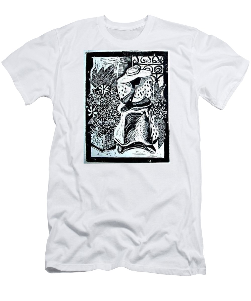 Everett Spruill T-Shirt featuring the painting Flower Vendor by Everett Spruill
