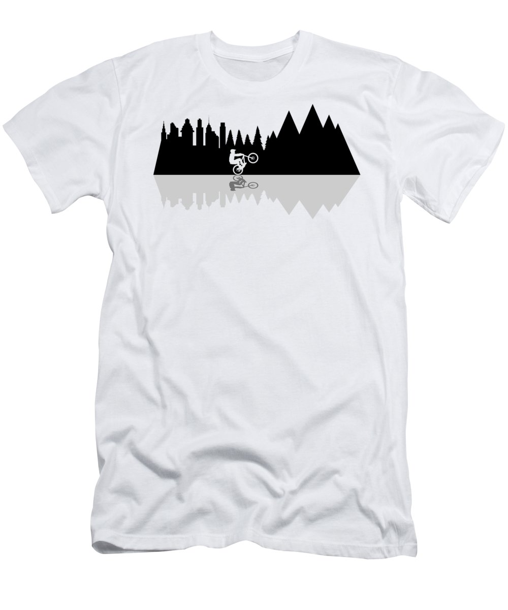 Bike T-Shirt featuring the digital art Go To The Mountains by Danilov Ilya