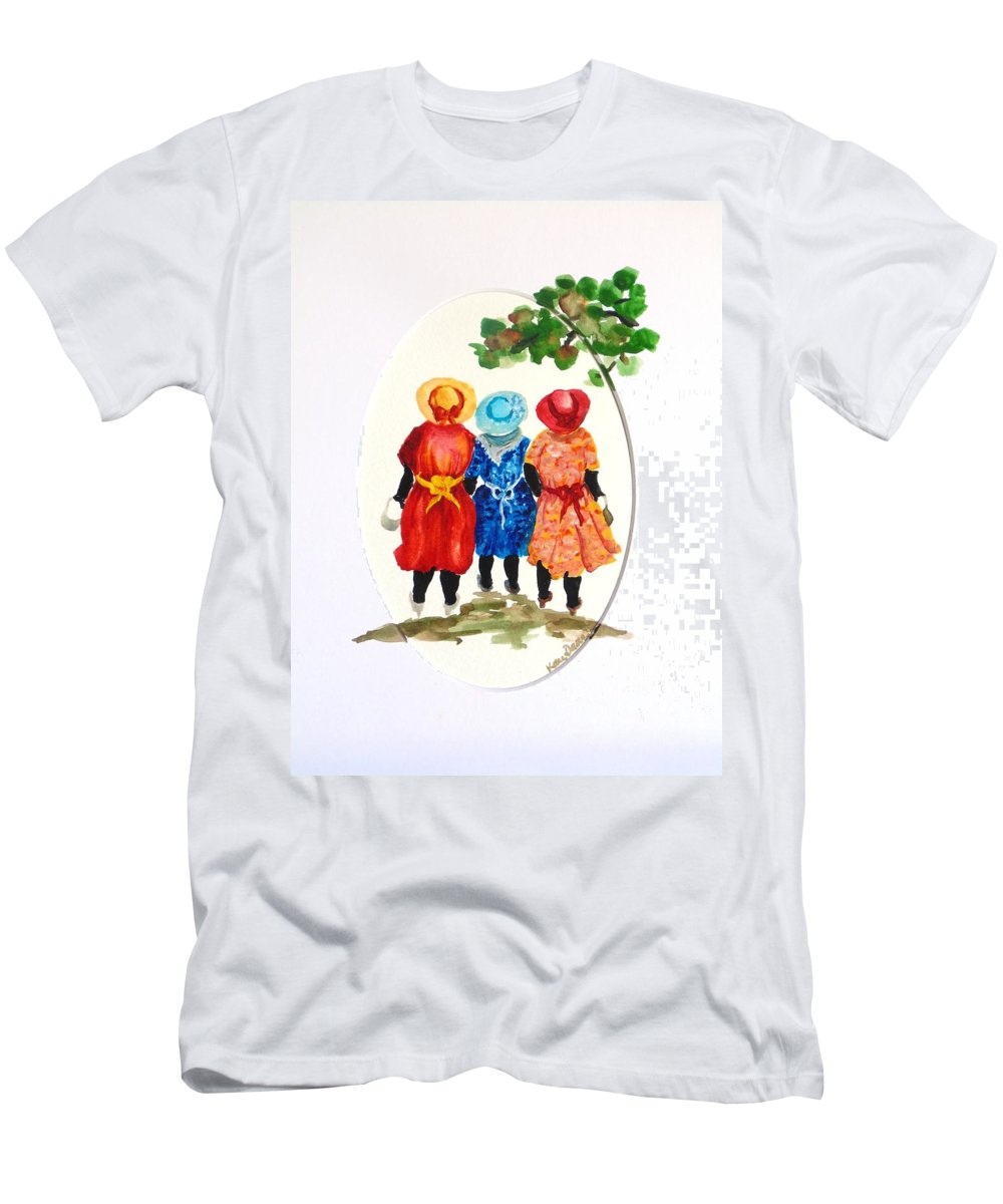 Three Women Caribbean T-Shirt featuring the painting Going to church by Karin Dawn Kelshall- Best