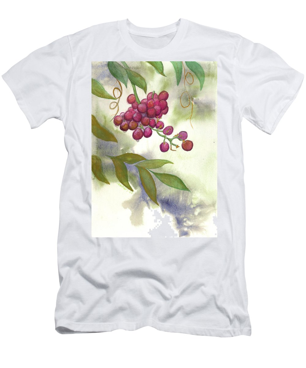 Rick Huotari T-Shirt featuring the painting Grapes Divine by Rick Huotari