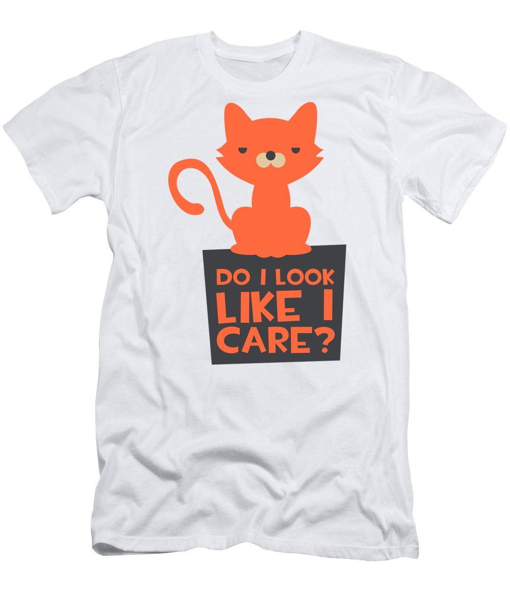 Cat T-Shirt featuring the digital art Grumpy Cat Do I Look Like I Care by Passion Loft