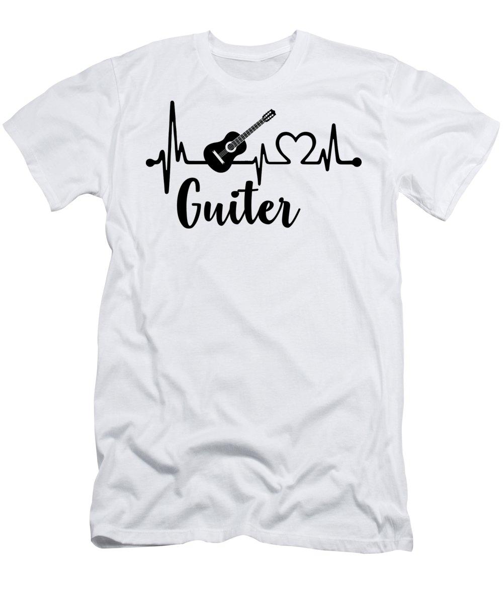 Guitar Lover T-Shirt featuring the digital art Guitar Heartbeat Musician Guitarist by Jacob Zelazny
