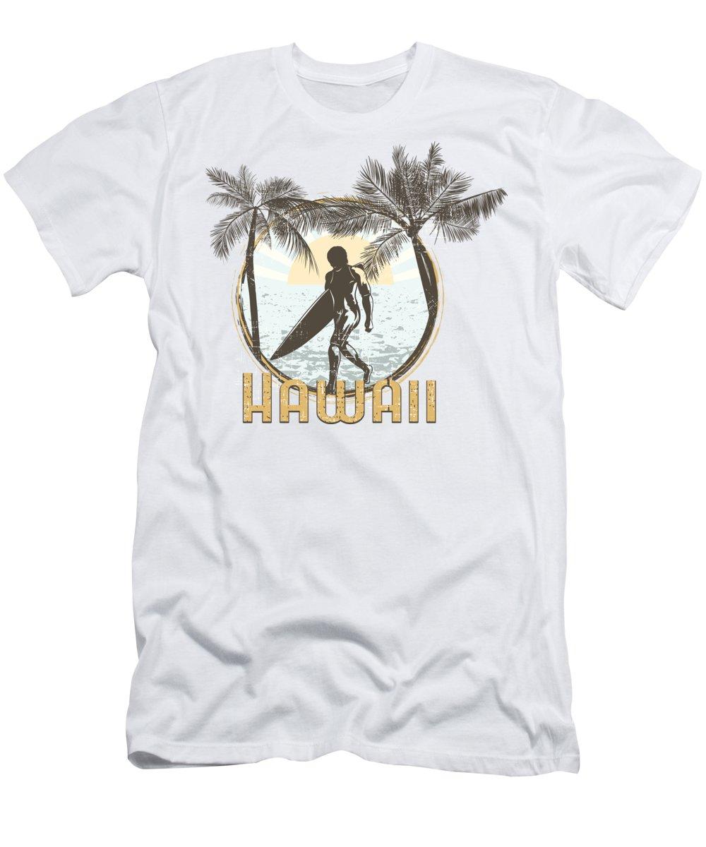 Beach T-Shirt featuring the digital art Hawaii Surfer on Beach by Jacob Zelazny