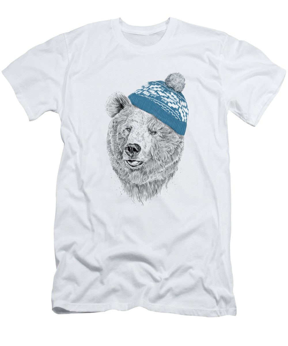 Bear T-Shirt featuring the drawing Hello Winter by Balazs Solti