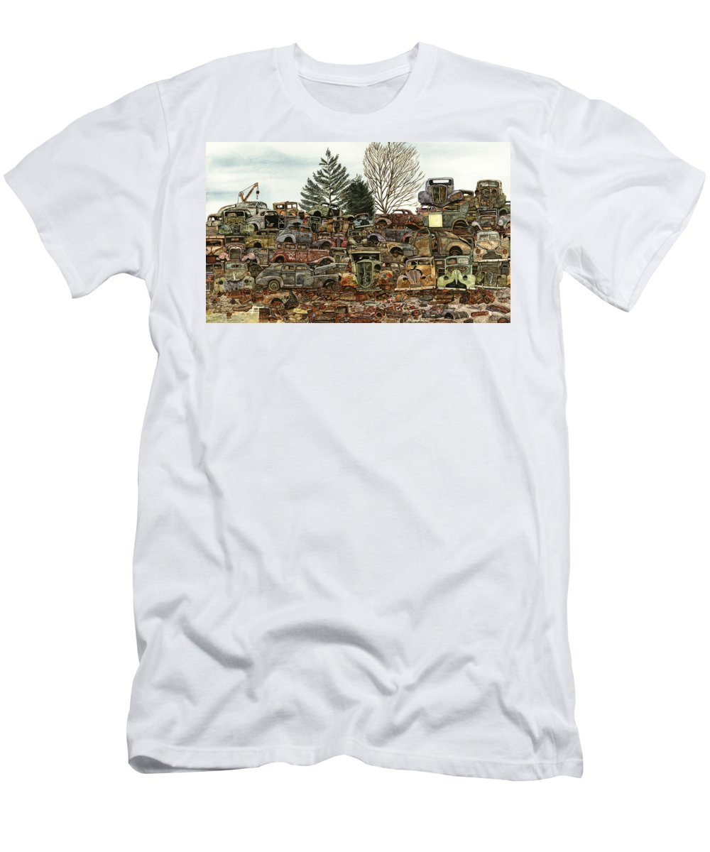 Old Cars T-Shirt featuring the painting Junkyard No.1 by Ron Morrison