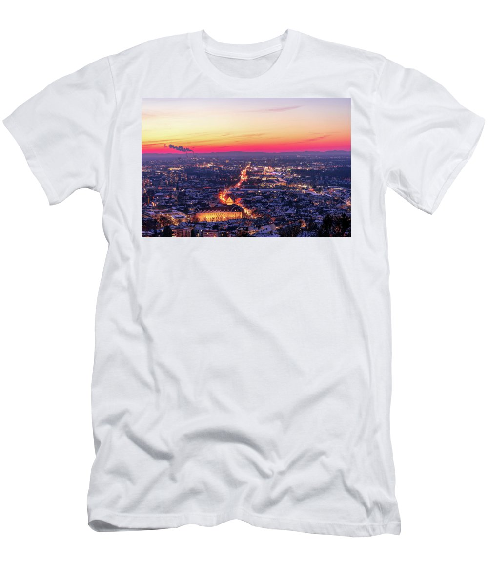 Karlsruhe T-Shirt featuring the photograph Karlsruhe in winter at sunset by Hannes Roeckel