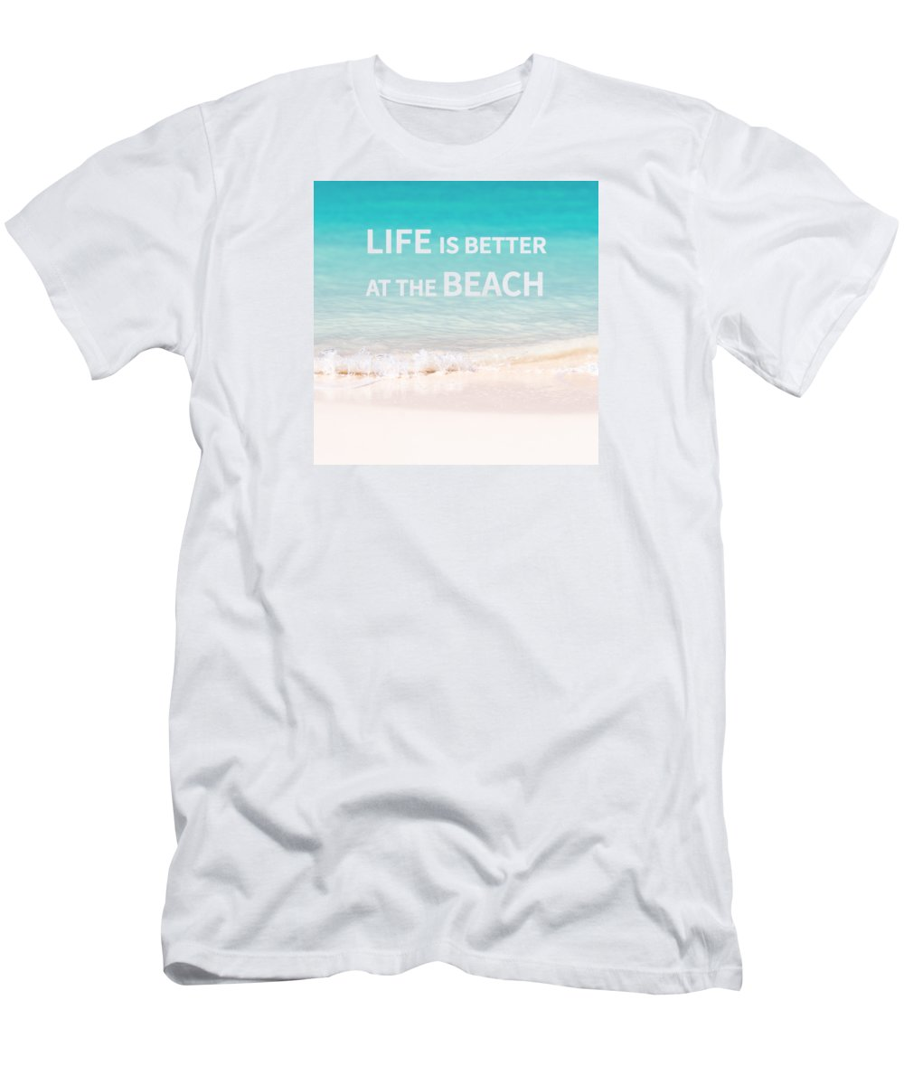 Beach T-Shirt featuring the photograph Life is better at the beach by Delphimages Photo Creations