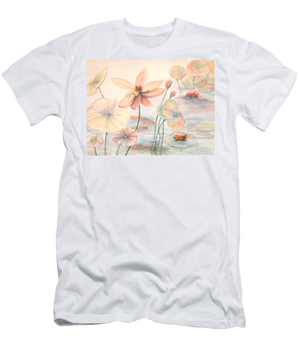 Lily Pads And Lotus Blossoms T-Shirt featuring the painting Lily Pads by Ben Kiger