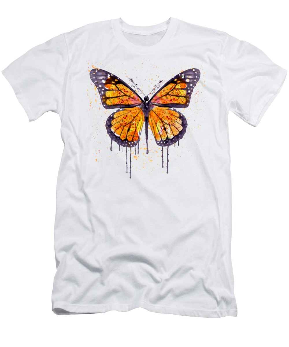 Monarch Butterfly T-Shirt featuring the painting Monarch Butterfly watercolor by Marian Voicu