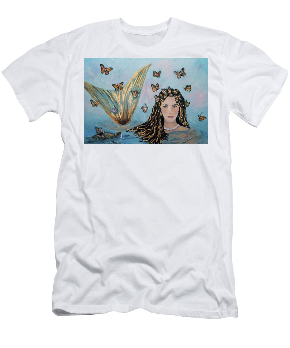 Mermaid T-Shirt featuring the painting More Precious Than Gold by Linda Queally