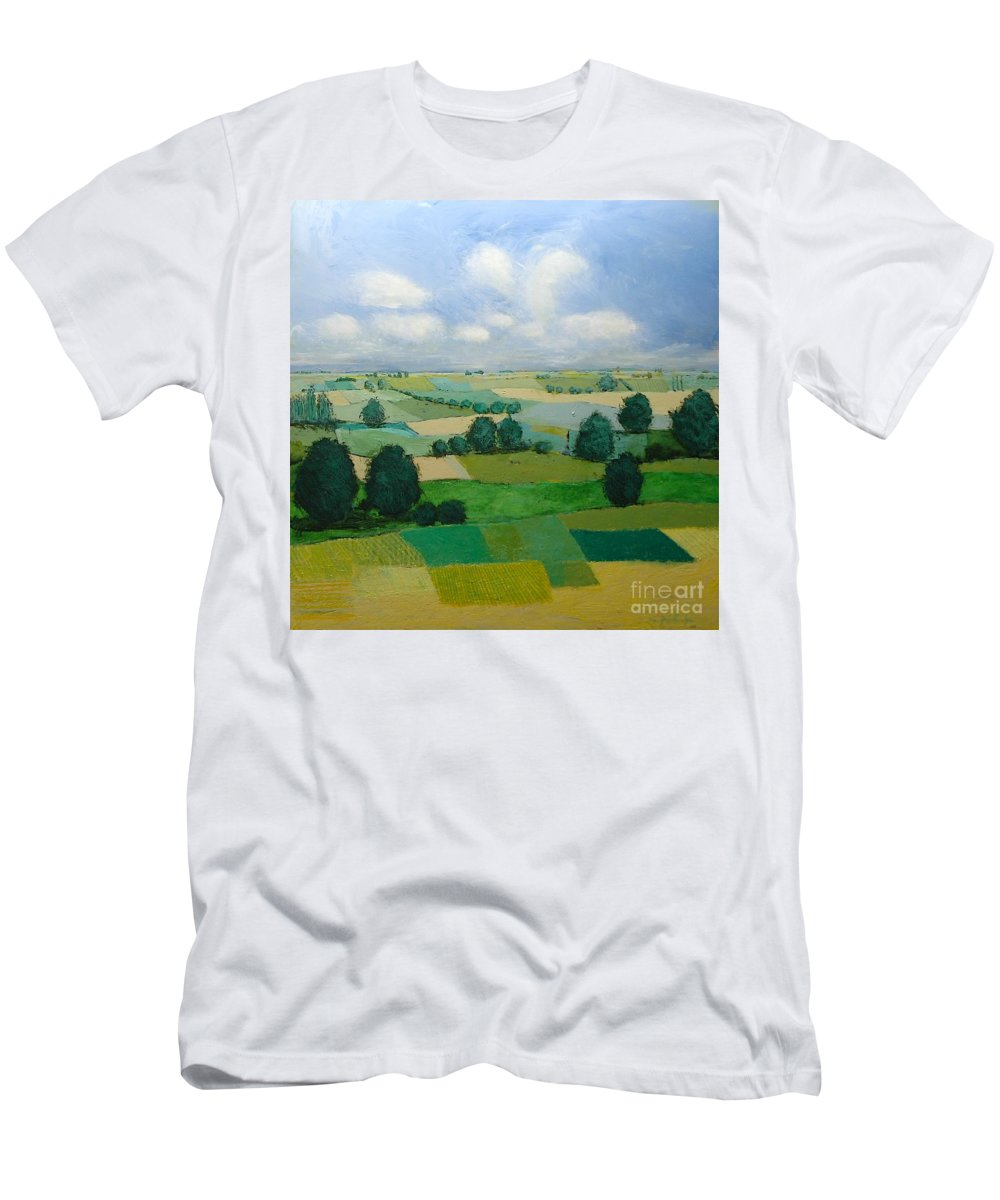 Landscape T-Shirt featuring the painting Morning Calm by Allan P Friedlander