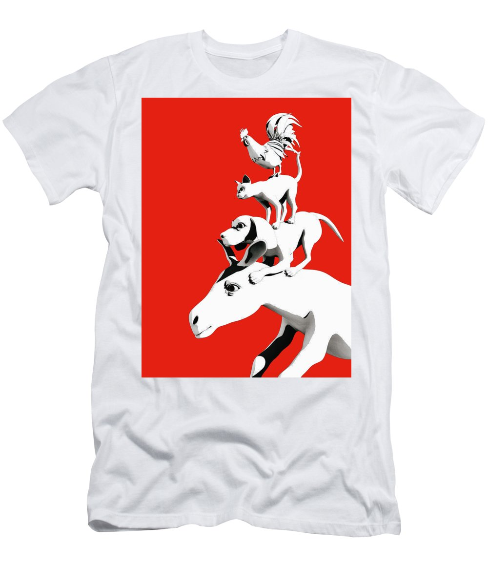 Donkey T-Shirt featuring the digital art Musicians of Bremen_red by Heike Remy