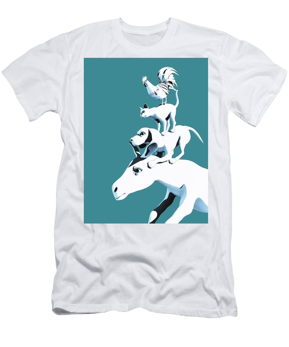 Donkey T-Shirt featuring the digital art Musicians of Bremen_teal by Heike Remy