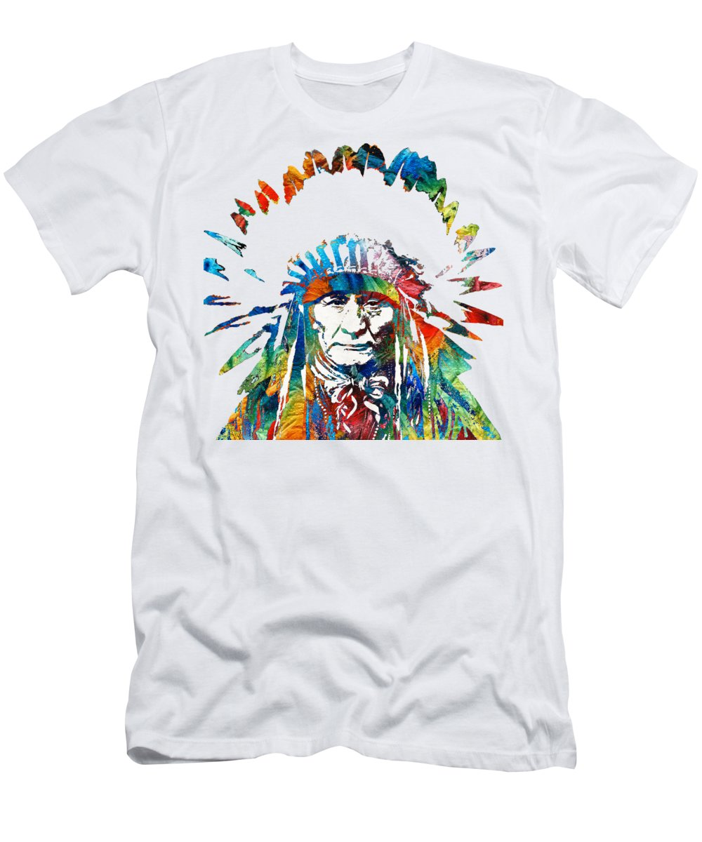 Native American T-Shirt featuring the painting Native American Art - Chief - By Sharon Cummings by Sharon Cummings