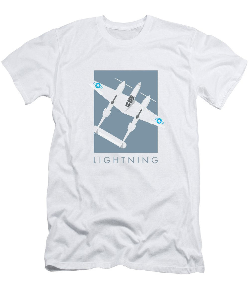 Aircraft T-Shirt featuring the digital art P-38 Lightning WWII Fighter Aircraft - Slate by Organic Synthesis