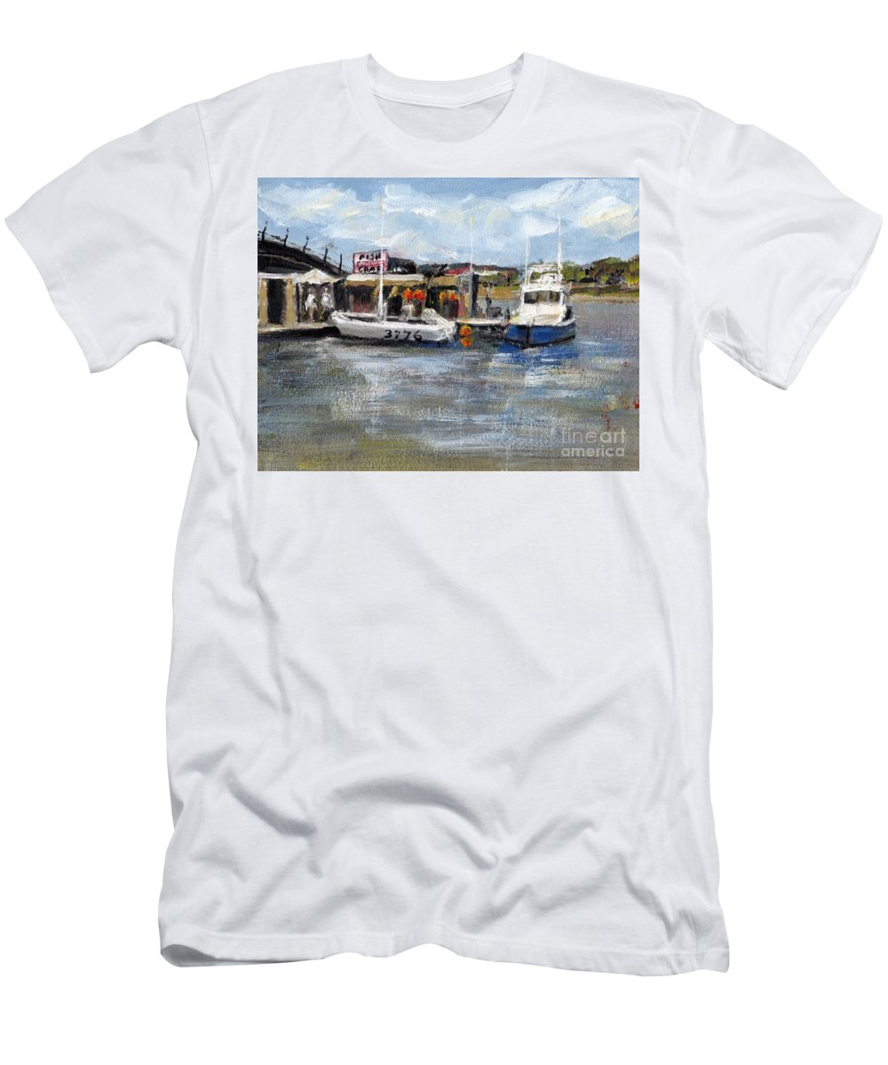 California T-Shirt featuring the painting Pearson's Port Crab Shack by Randy Sprout