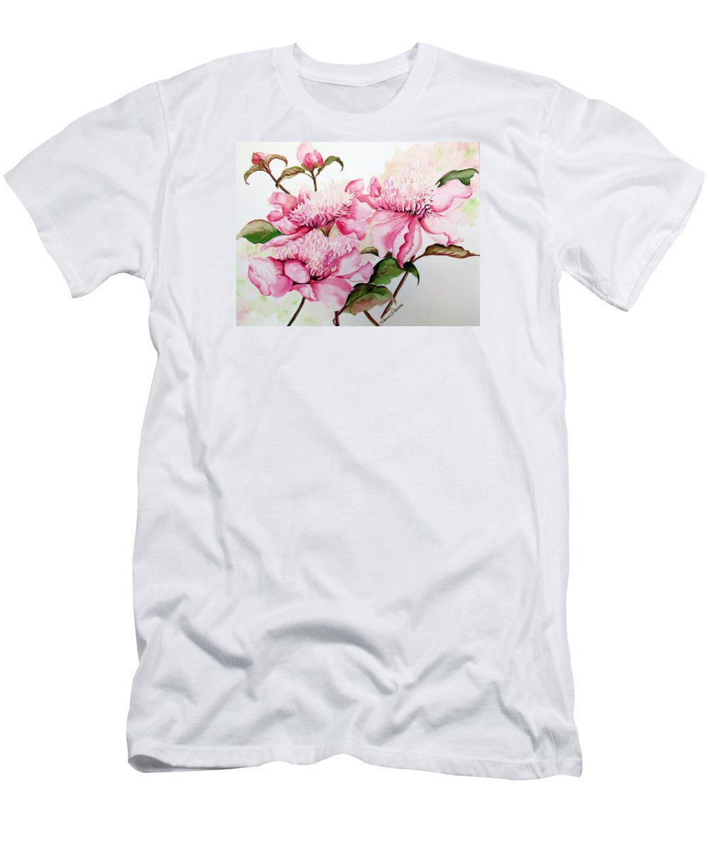 Flower Painting Flora Painting Pink Peonies Painting Botanical Painting Flower Painting Pink Painting Greeting Card Painting Pink Peonies T-Shirt featuring the painting Peonies by Karin Dawn Kelshall- Best