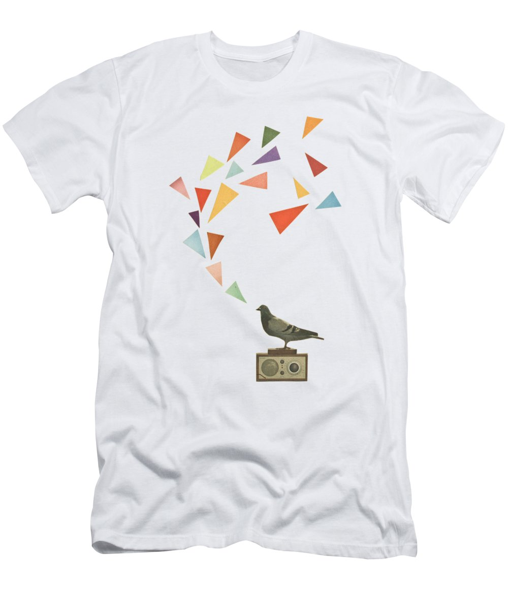 Pigeon T-Shirt featuring the mixed media Pigeon Radio by Cassia Beck