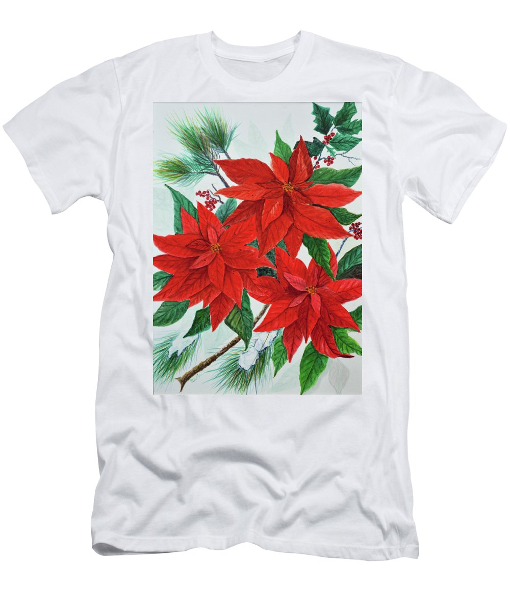 Poinsettias T-Shirt featuring the painting Poinsettias by Ben Kiger