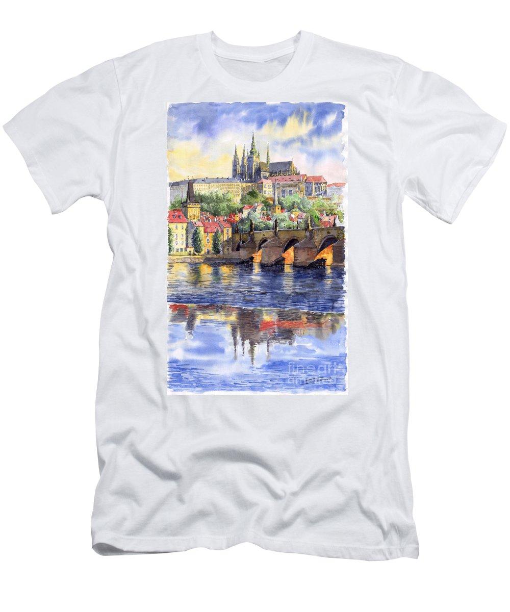 Watercolour Watercolor Prague Praha Cityscape Castle Old City Hous Bridge T-Shirt featuring the painting Prague Castle with the Vltava River 1 by Yuriy Shevchuk